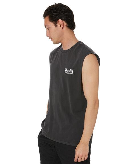 VINTAGE BLACK MENS CLOTHING THRILLS SINGLETS - TS20-105BVVBK