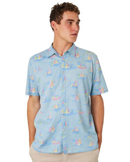 YACHT CLUB INDIGO MENS CLOTHING BARNEY COOLS SHIRTS - 301-CR4YACHT