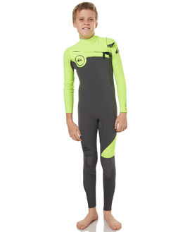 JET BLACK YELLOW SURF WETSUITS QUIKSILVER STEAMERS - EQBW103019XKGK