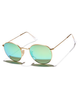 MATTE GOLD GREEN WOMENS ACCESSORIES RAY-BAN SUNGLASSES - 0RB344750112P9