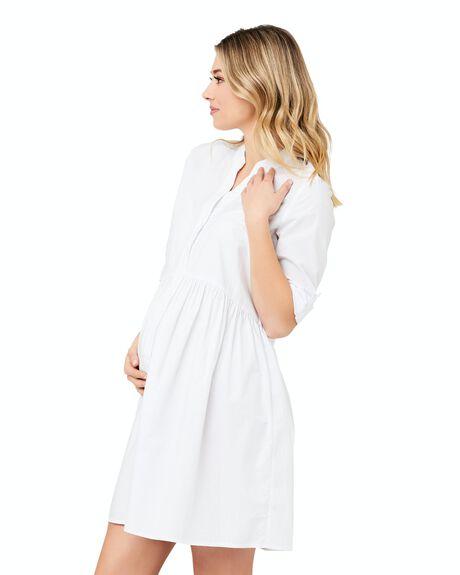 WHITE WOMENS CLOTHING RIPE MATERNITY DRESSES - S1176-WHITE-XS