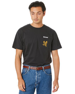 WASHED BLACK MENS CLOTHING BRIXTON TEES - 16184WBLK