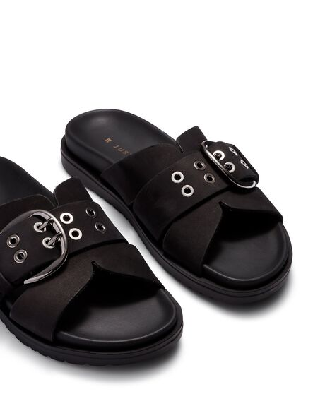 BLACK WOMENS FOOTWEAR JUST BECAUSE SLIDES - SOLE-JB0536BLK