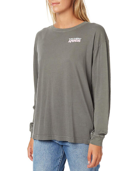 DISTRESSED BLACK WOMENS CLOTHING AFENDS TEES - 50-10-006DBLK