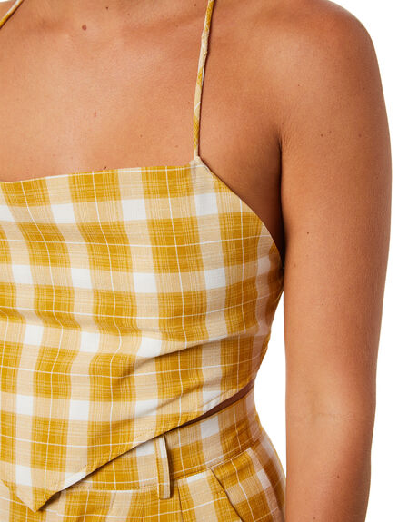 MUSTARD CHECK WOMENS CLOTHING JAGGER AND STONE FASHION TOPS - JSM003MCHK