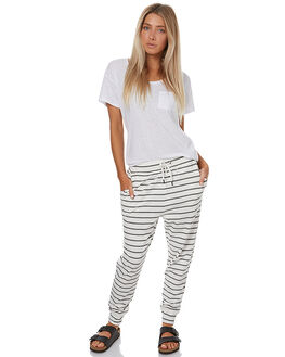 WHITE THREE STRIPE WOMENS CLOTHING SWELL PANTS - S8173191WHTST