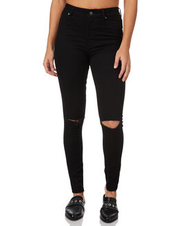 CUT BLACK WOMENS CLOTHING CHEAP MONDAY JEANS - 0442320CBLK