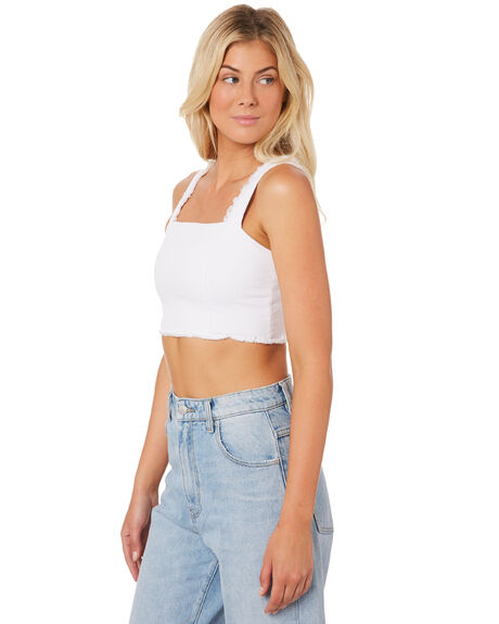 WHITE WOMENS CLOTHING LULU AND ROSE FASHION TOPS - LU23371WHI