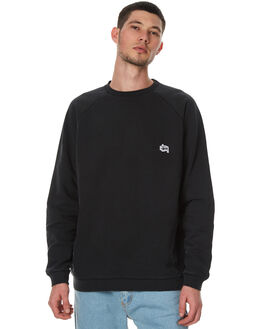 WASHED BLACK MENS CLOTHING STUSSY JUMPERS - ST077201WBLK