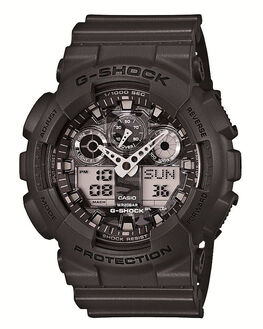 CHARCOAL GREY CAMO MENS ACCESSORIES G SHOCK WATCHES - GA100CF-8ACHGRY