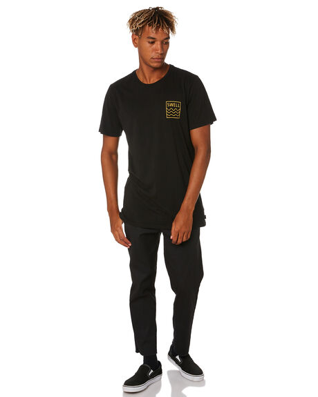 BLACK YELLOW MENS CLOTHING SWELL TEES - S5201021BLK