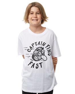 WHITE KIDS BOYS CAPTAIN FIN CO. TEES - BT181042WHT