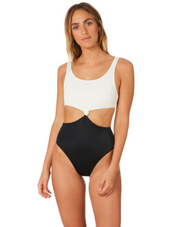 CREAM BLACK WOMENS SWIMWEAR SOLID AND STRIPED ONE PIECES - WS-1069-1042CRMBK