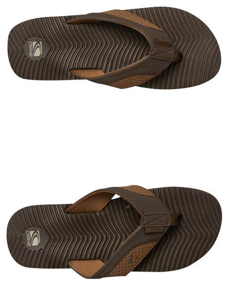 BROWN MENS FOOTWEAR CARVE THONGS - CVS1506BRN