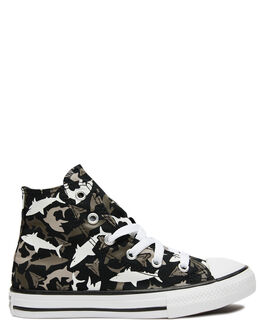 BLACK KIDS BOYS CONVERSE SNEAKERS - 666888CBLK
