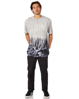 BLACK MENS CLOTHING HUF TEES - TS00655BLK
