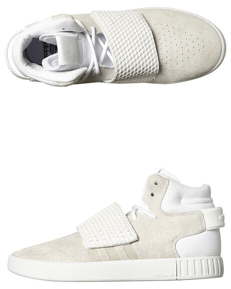 6a2777b2406993 Adidas Originals Kids Tubular Invader Strap Elastic Shoe - White ...