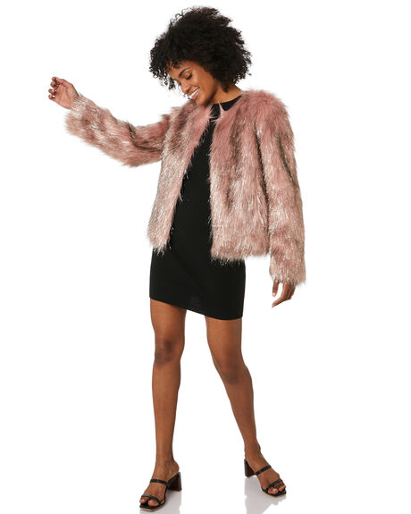 DUSTY PINK WOMENS CLOTHING UNREAL FUR JACKETS - URF8100005-DPSDPNK