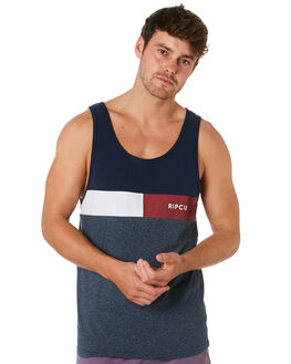 NAVY MENS CLOTHING RIP CURL SINGLETS - CTESN20049