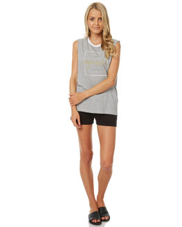 LIGHT GREY MARLE WOMENS CLOTHING RIP CURL SINGLETS - GTETI13597