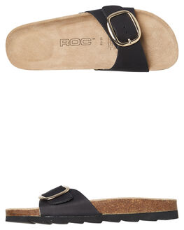 BLACK NATURAL WOMENS FOOTWEAR ROC BOOTS AUSTRALIA SLIDES - BOWIEBLKN