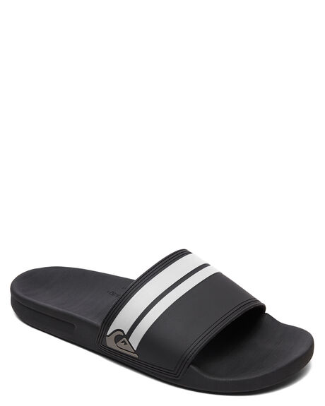 BLACK/BLACK/WHITE MENS FOOTWEAR QUIKSILVER SLIDES - AQYL101097-XKKW