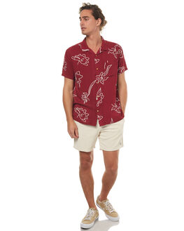 RUST RED MENS CLOTHING STUSSY SHIRTS - ST072407RRED