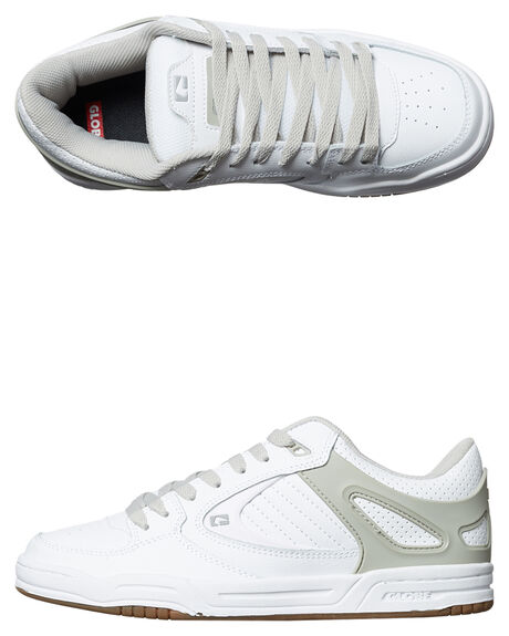 WHITE GREY OUTLET MENS GLOBE SNEAKERS - GBAGENT-11674