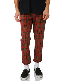 RED PLAID MENS CLOTHING THRILLS PANTS - TWP-405HZRED