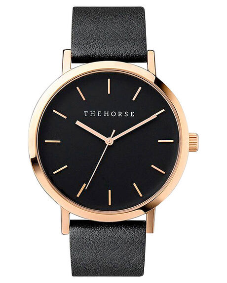 ROSE GOLD BLACK MENS ACCESSORIES THE HORSE WATCHES - HORSEUNIRSGBK