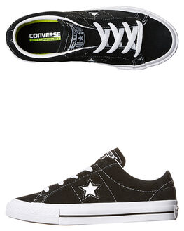 BLACK WHITE KIDS BOYS CONVERSE SNEAKERS - 353061BLK