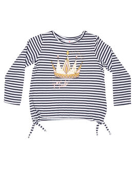 NAVY WHITE STRIPE KIDS GIRLS EVES SISTER TOPS - 8034016STR