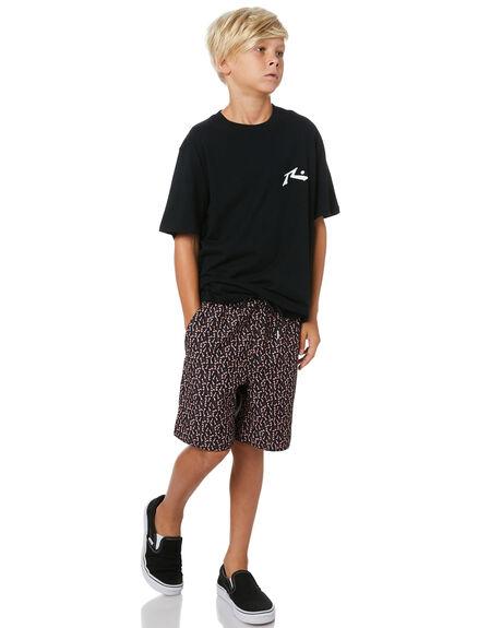 BLACK PEACH KIDS BOYS STCY MFG BOARDSHORTS - STBSCRUFONBKPCH
