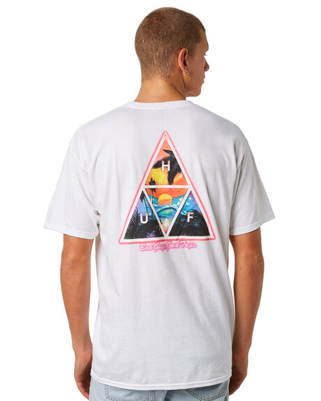 WHITE MENS CLOTHING HUF TEES - TS00265WHITE