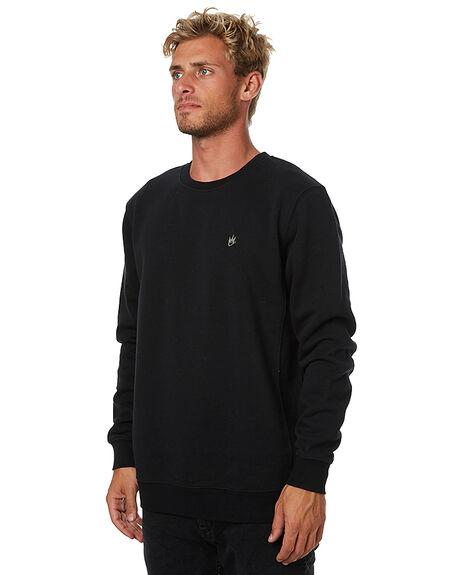 BLACK MENS CLOTHING AFENDS JUMPERS - 06-03-075BLK