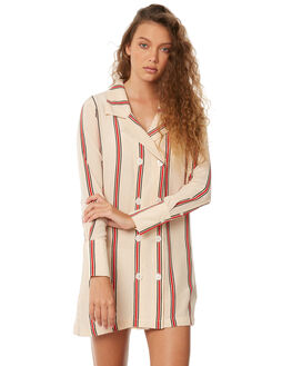 SAND RED STRIPE WOMENS CLOTHING RUE STIIC DRESSES - SW18-32STSTR