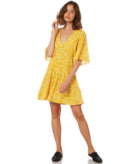 GOLDEN YELLOW WOMENS CLOTHING MINKPINK DRESSES - MP18X2452YEL