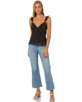FLORAL OASIS BLACK WOMENS CLOTHING THE EAST ORDER FASHION TOPS - EO200217TFLO