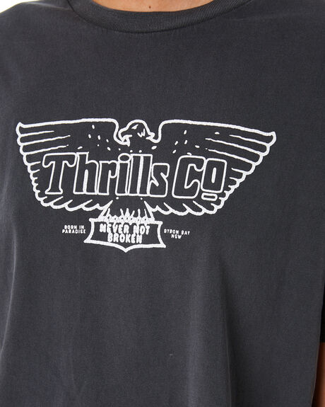 WASHED BLACK WOMENS CLOTHING THRILLS TEES - WTR9-105BMBLK