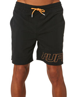 BLACK MENS CLOTHING HUFFER BOARDSHORTS - MST93S3601BLK