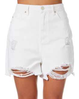 WHITE OUTLET WOMENS RES DENIM SHORTS - RD-WWN18013WHT