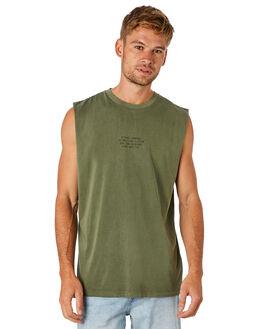 ARMY GREEN MENS CLOTHING THRILLS SINGLETS - TS8-101FARGRN