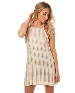 SAND BLACK STRIPE WOMENS CLOTHING LILYA DRESSES - LND03-LSP17-SSSBS