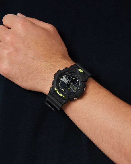 BLACK YELLOW MENS ACCESSORIES G SHOCK WATCHES - GA800DC-1ABKYEL