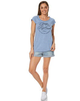 DENIM BLUE WOMENS CLOTHING RIP CURL TEES - GTESG1BLU