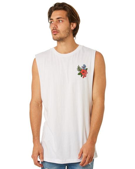 WHITE MENS CLOTHING SANTA CRUZ SINGLETS - SC-MTD8020WHT