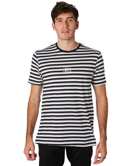 WHITE BLACK STRIPE MENS CLOTHING SWELL TEES - S5201004WBKST