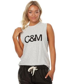 GREY MARLE STRIPE WOMENS CLOTHING CAMILLA AND MARC SINGLETS - OCMT6563GREYMRL