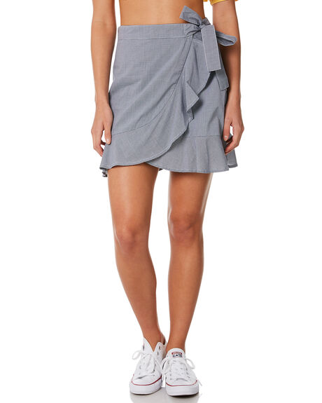 NAVY CHECK OUTLET WOMENS ELWOOD SKIRTS - W84619NVY