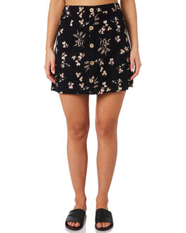 BLACK FLORAL WOMENS CLOTHING O'NEILL SKIRTS - 5421603BFL